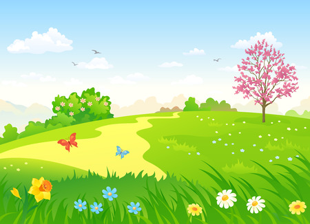 Vector cartoon illustration of a beautiful spring hill with blooming flowers and trees Illusztráció