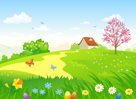 country flowers: Vector cartoon illustration of a beautiful country landscape with Easter eggs and spring flowers. Illustration