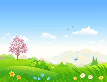 Vector cartoon illustratie van een mooi lente groen landschap met bloeiende bloemen
