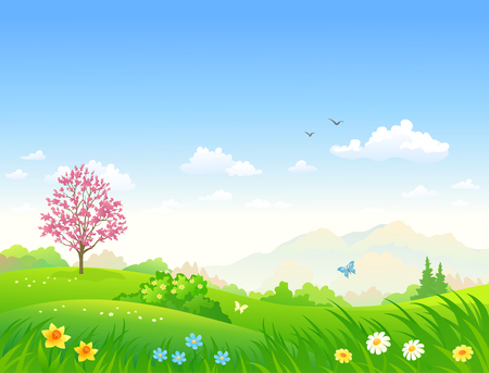 Vector cartoon illustration of a beautiful spring green landscape with blooming flowers Vettoriali