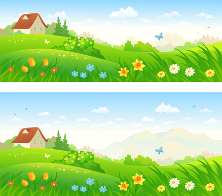 country flowers: Simple illustration of a flat icon of a Vector illustration of country landscapes with spring flowers. Illustration