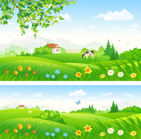 Simple illustration of a flat icon of a Vector illustration of beautiful countryside landscapes with a grazing cow.