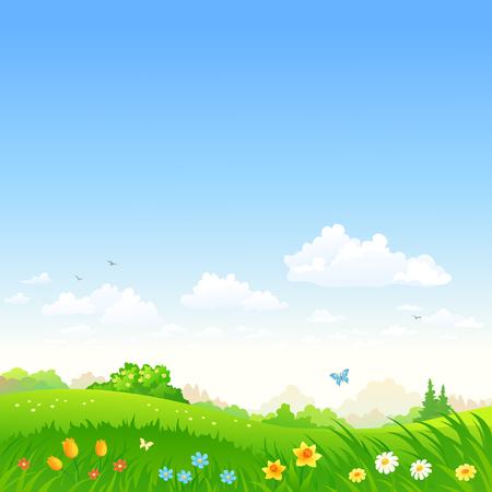 봄 꽃, 광장 배경으로 아름 다운 초원의 벡터 만화 일러스트 레이 션