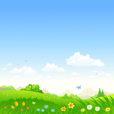 Vector cartoon illustration of a beautiful meadow with spring flowers, square background Çizim