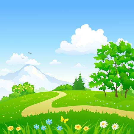 Vector illustratie van een weg in een groen lentebos Stock Illustratie