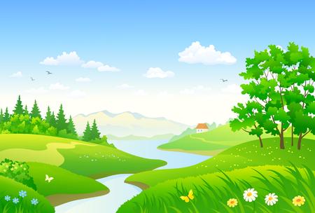 A Editar descripción ector dibujo de un río hermoso bosque, panorama de paisaje horizontal