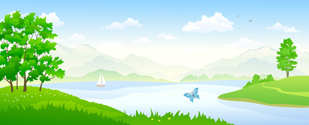 Vector illustration of a river landscape panorama