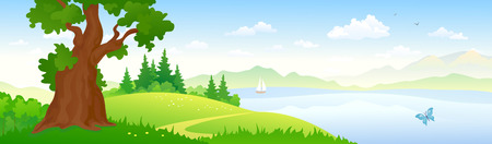 Vector illustration of a river landscape, panorama Illustration
