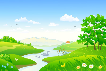 Illustration of a beautiful river scene with a floating swan family Illustration