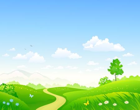Vector cartoon illustration of a beautiful green summer landscape