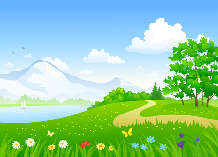 Vector illustration of a beautiful summer landscape with a lake
