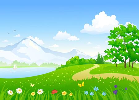 Vector illustratie van een mooi zomer landschap met een meer Stock Illustratie