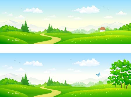 夏の風景のパノラマ デザイン バナー ベクトル フラット イラスト。  イラスト・ベクター素材