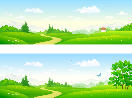 A vector flat illustration of summer landscapes, panoramic design banners.