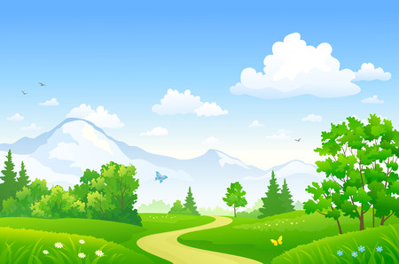 Vector drawing of a beautiful summer forest at the mountains