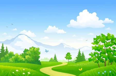 Vector tekening van een mooi zomerbos bij de bergen Stock Illustratie
