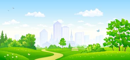 Vector illustratie van een zomer stadspark