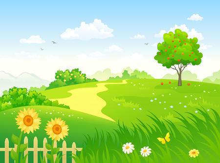 Vector cartoon illustration of a summer country garden