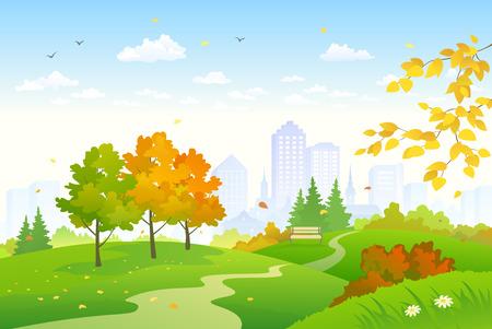 Vector cartoon drawing of an autumn city park Illustration