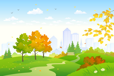 Vector cartoon drawing of an autumn city park Stock Illustratie