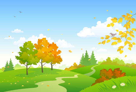 Vector illustration of a cartoon autumn woodland Illusztráció