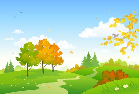 Vector illustration of a cartoon autumn woodland 向量圖像