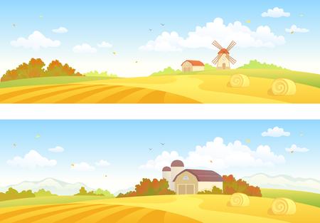 Vector illustration of autumn farm fields, horizontal banners