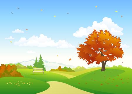 Colorful autumn scenery illustration. Illustration