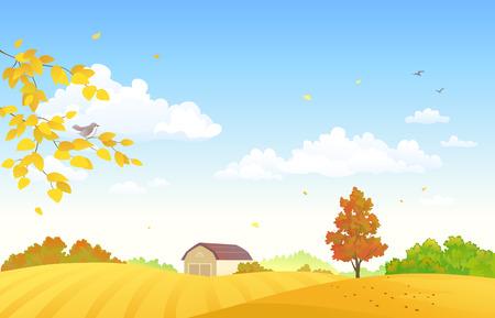 Vector illustration of autumn farm fields Illustration