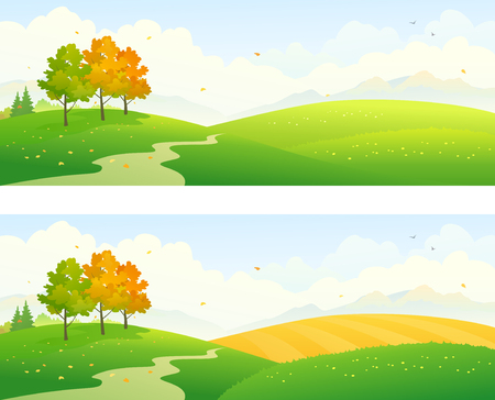 Vector illustration of autumn fields, panoramic banners Ilustração