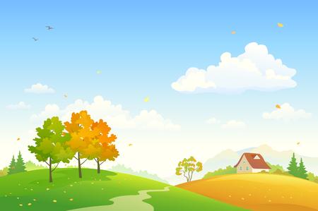 Vector illustration of a rural fall landscape Illustration