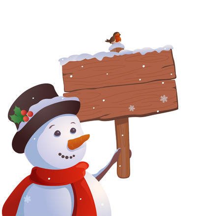 wooden post: Vector illustration of a cute snowman with a wooden signboard, isolated on a white background Illustration