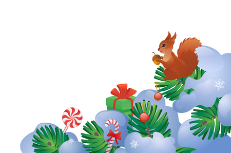 Vector illustration of snow covered fir tree branches with a squirrel, isolated on a white background.