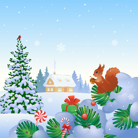 Vector illustration of a Christmas scene with a snow covered house and fir trees Illustration