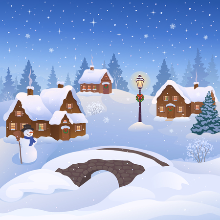 Vector illustration of a beautiful Christmas village and a snowman