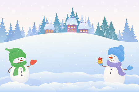 Vector drawing of a Christmas snow scene with two cute snowmen