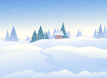 Vector illustration of a beautiful winter landscape, snowy day background
