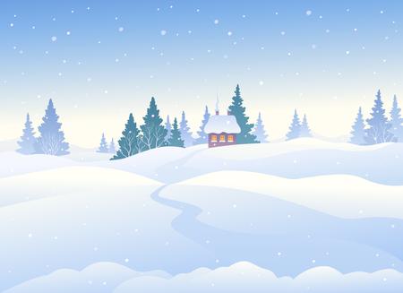 Vectorillustratie van een mooi de winterlandschap, sneeuwdagachtergrond
