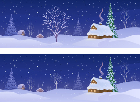 Vector illustration of a rural winter night, panoramic banners