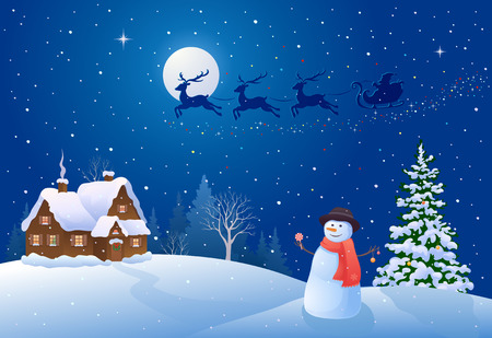 Vector illustration of a beautiful Christmas night landscape and greeting snowman