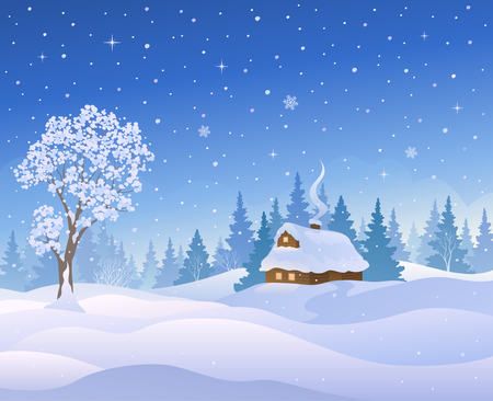 Vector illustration of a beautiful winter landscape.