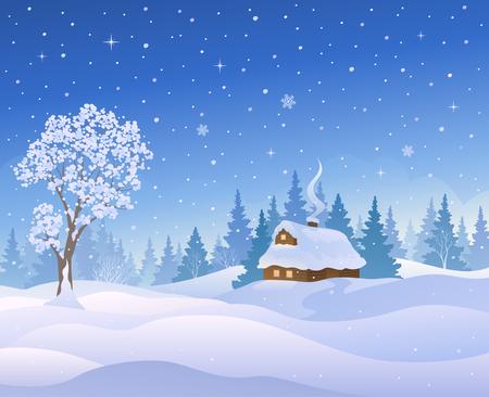 Vektorillustration einer schönen Winterlandschaft.