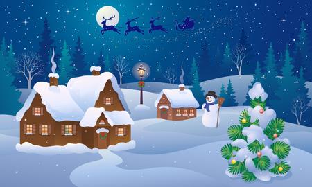 snowy hill: Christmas design concept. Illustration
