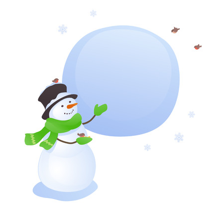 Vector illustration of a cute snowman with a sign, isolated on a white background