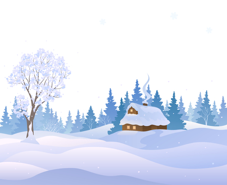 Vector illustration of a winter landscape with a snow covered house, isolated on a white background