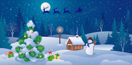 Vector illustration of a Christmas landscape panorama and Santa Claus sleigh