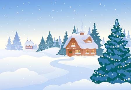 Vector Illustration einer schönen Weihnachtslandschaft, Wintertagesdorf Vektorgrafik