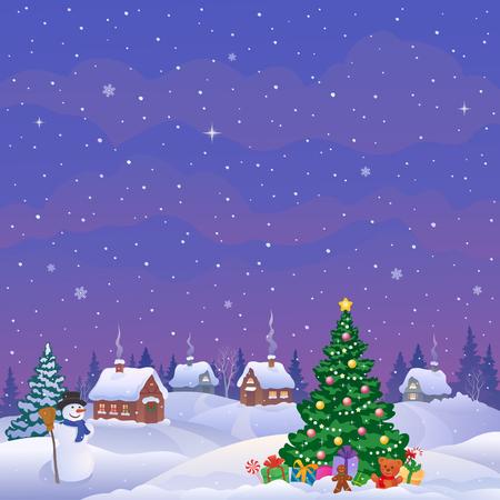 Vector illustration of a winter village 向量圖像