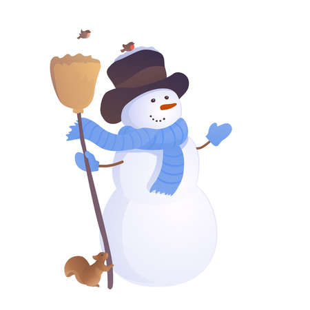Vector illustration of a greeting snowman with a squirrel and birds, isolated on a white background
