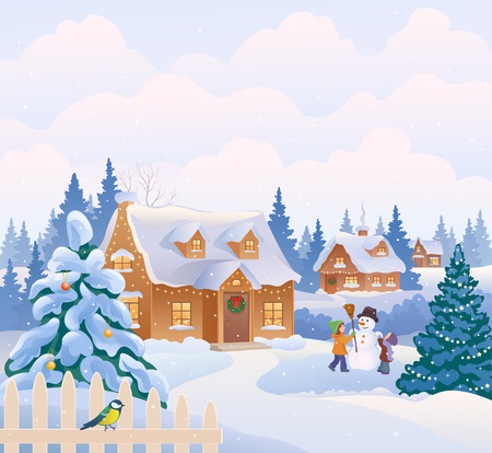 Vector illustration of a Christmas tree and kids making a snowman Illustration